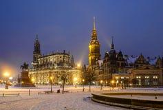 inverno Dresden após o por do sol Fotos de Stock Royalty Free