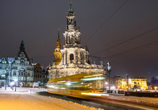 inverno Dresden após o por do sol Imagem de Stock Royalty Free