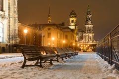 inverno Dresden após o por do sol Foto de Stock