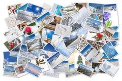 Inverno e collage delle foto della neve Fotografie Stock