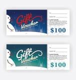 Inverno e modello del certificato del buono di regalo del pupazzo di neve Fotografia Stock