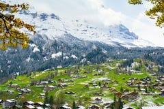 Inverno e primavera in alpi, regione di Jungfrau, Svizzera Fotografie Stock