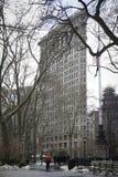 inverno em Madison Square Park - ferro de passar roupa no fundo Foto de Stock Royalty Free
