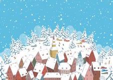 Inverno em uma cidade pequena Fotos de Stock