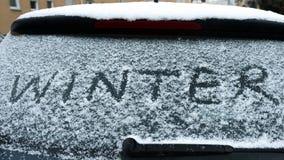 inverno escrito na neve Fotografia de Stock Royalty Free