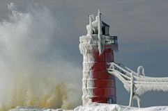 Inverno, faro del sud del porto Immagine Stock Libera da Diritti