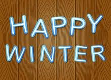 'Inverno felice' su fondo di legno, progettazione del taglio della carta Fotografie Stock Libere da Diritti