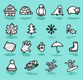 inverno, feste, icone della neve impostate Fotografie Stock