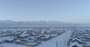 inverno forte na vila de Aktash, estepe de Kurai, Altai video estoque