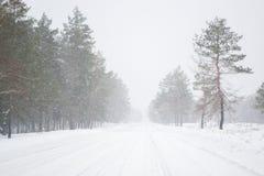 inverno gelado e da neve da estação na estrada no país Imagens de Stock