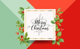 Inverno Holly Berry Banner di Natale, fondo grafico, invito di dicembre, aletta di filatoio o carta Immagine Stock Libera da Diritti