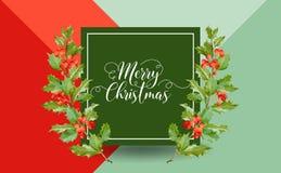 Inverno Holly Berry Banner di Natale, fondo grafico, invito di dicembre, aletta di filatoio o carta Immagine Stock