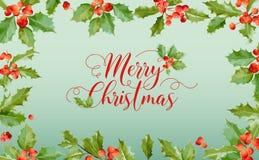 Inverno Holly Berry Banner di Natale, fondo grafico, invito di dicembre, aletta di filatoio o carta Fotografia Stock Libera da Diritti