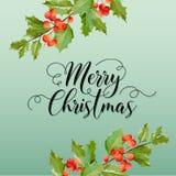 Inverno Holly Berry Banner di Natale, fondo grafico, invito di dicembre, aletta di filatoio o carta Fotografie Stock Libere da Diritti