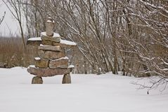 Inverno Inukshuk fotografia stock libera da diritti