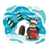 Inverno L'orso favoloso L'orso e la tana Illustrazione di libro del ` s dei bambini Illustrazione di natale di inverno royalty illustrazione gratis