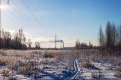 Inverno Linha de campo bonde Fotos de Stock Royalty Free
