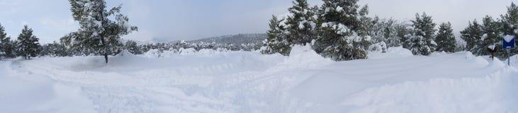 inverno maravilhoso da vista panorâmica com lotes da neve e das trações da neve em uma vila grega na ilha de Evia, Grécia imagens de stock royalty free