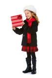 inverno: Menina bonito do inverno com presente de Natal imagens de stock