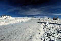 Inverno in montagne di Fischbacher Alpen con neve, l'albero ed il cielo blu Fotografia Stock