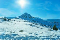 Inverno in montagne di Pindus della Grecia fotografie stock libere da diritti