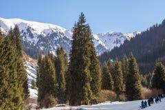 Inverno in montagne di Tien Shan Fotografia Stock