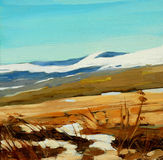 Inverno in montagne, dipingenti su una tela, illustrazione Fotografia Stock