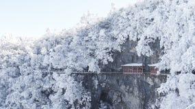 inverno, montanha de Tianmen em Zhangjiajie, Hunan, fotografia de stock royalty free