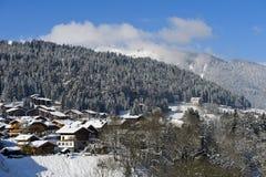 Inverno in Morzine, Haute Savoie, Francia Immagini Stock