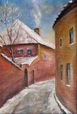 inverno na cidade velha ilustração do vetor