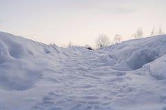 inverno na estrada de floresta Imagens de Stock Royalty Free