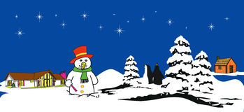 Boneco de neve com estrelas Fotos de Stock Royalty Free