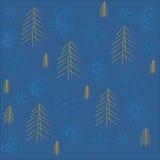 Inverno, Natale, nuovo anno, fondo blu, fiocchi di neve blu e turbinii, arancia, albero di Natale giallo Fotografie Stock Libere da Diritti