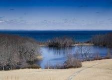 Inverno nel parco storico dello stato di Caumsett Fotografie Stock