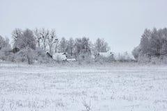 Inverno nel villaggio Immagini Stock Libere da Diritti