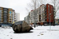 Inverno nella capitale del distretto delle colline di Bajoru della città della Lituania Vilnius Fotografia Stock Libera da Diritti
