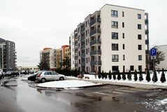 Inverno nella capitale del distretto delle colline di Bajoru della città della Lituania Vilnius Fotografia Stock