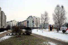 Inverno nella capitale del distretto di Pasilaiciai della città della Lituania Vilnius Fotografia Stock Libera da Diritti