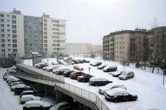Inverno nella capitale del distretto di Pasilaiciai della città della Lituania Vilnius Immagine Stock