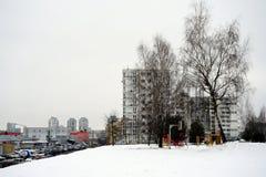 Inverno nella capitale del distretto di Pasilaiciai della città della Lituania Vilnius Fotografia Stock