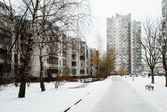 Inverno nella capitale del distretto di Seskine della città della Lituania Vilnius Immagine Stock Libera da Diritti