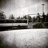 Inverno nella città, Danzica, Polonia Sguardo artistico in bianco e nero Immagine Stock Libera da Diritti