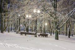 Inverno nella città di notte immagine stock