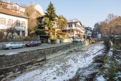 Inverno nella più piccola città in Bulgaria - Melnik immagini stock