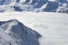 Inverno nella stazione sciistica di Kitzsteinhorn, alpi austriache Fotografia Stock