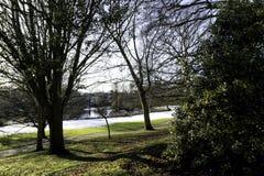 Inverno nella stazione termale reale di Leamington - sala pompe/giardini di Jephson immagini stock