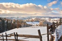 Inverno nella Transilvania Romania Fotografia Stock
