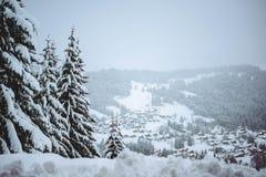 Inverno nelle alpi francesi Fotografia Stock Libera da Diritti