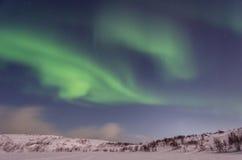 Inverno, neve, aurora, aurora boreale, notte, stelle Fotografia Stock Libera da Diritti