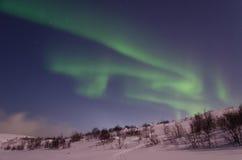 Inverno, neve, aurora, aurora boreale, notte, stelle Fotografie Stock Libere da Diritti